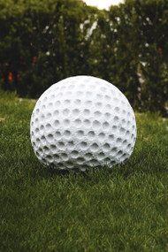 Golf Ball Lawn Ornament.  Decorate your lawn with this whimsical garden ornament and show your spirit for the sport! Diameter: 12″, Weight: 65lbs. Please call for shipping price. Allow 3-4 weeks for delivery. Made in the USA!