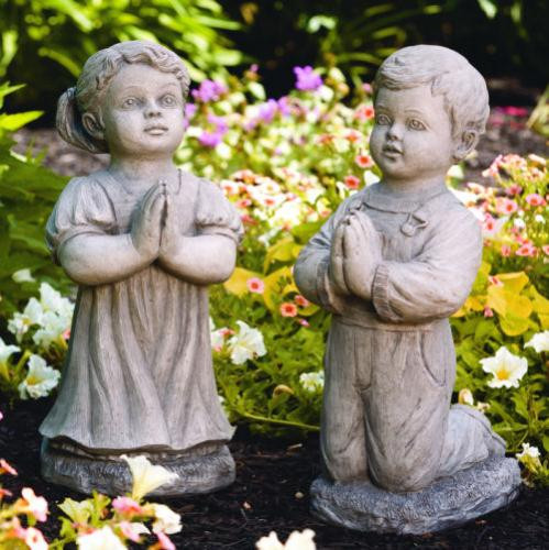 """From the Devotional Collection """"Peaceful""""  Praying Boy or Girl Garden Statuary (Available in natural or detailed stain) Details:  Peaceful Girl ~ H: 20"""",  BW: 8.75"""" BL: 12"""", Wt: 42 lbs. Peaceful Boy ~ H: 21"""", W: 7"""",  BL: 11"""", Wt: 40 lbs. Made to order...Allow 3-4 weeks for delivery. Made in the USA! Call for pricing"""