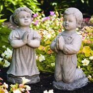 """From the Devotional Collection """"Peaceful"""" Praying Boy or Girl Garden Statues.  The Peaceful Praying Boy and Girl Cement statues come in  a natural or detailed stain finish.  Details:    Peaceful Girl ~ H: 20"""",  BW: 8.75"""" BL: 12"""", Wt: 42 lbs.   Peaceful Boy ~ H: 21"""", W: 7"""",  BL: 11"""", Wt: 40 lbs.  Handcrafted and made to order...Allow 4-6 weeks for delivery. Made in the USA!"""