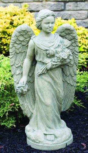 """From the Devotional Collection ~ Cement Outdoor Angel with Roses. Rosebud Angel comes in a  Natural finish. Dimensions are:  Height: 28"""", Width: 14"""", BD: 9.25"""" Weight: 66 lbs.  Handcrafted and made to order...Allow 4-6 weeks for delivery. Made in the USA"""