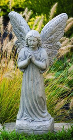 "Statue of an angel standing with hands together in prayer. This large praying angel statue features an angel standing with hands in prayer position and wings spread out. Add this beautiful statue to your garden today! Details: Dimensions: 24""H x 7""BW x 6""BL 34 lbs Made to order, Allow 4-6 weeks for delivery Made in the USA"