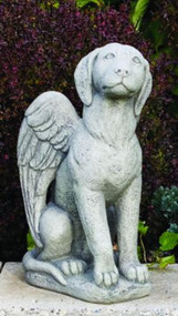 """My Guardian Dog Angel.  Guardian Angel Dog Cement Statue comes in a natural cement finish. Dimensions are:  Height: 17"""", Width: 9"""", Length: 11, BW: 6.5"""", BL: 10"""".  Weight: 29 lbs.  Handdcrafted and made to order....Allow 4-6 weeks for delivery. Made in the USA!"""