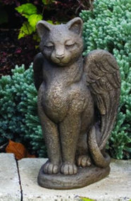 "This cement guardian angel cat statue is a unique and beautiful addition to your garden. This statue features a cat sitting with its wings open.  Details:  Dimensions: 13.75""H x 7.5""W x 8""L 14 lbs Made to order. Allow 4-6 weeks for delivery. Made in the USA"