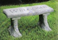 Cement garden bench with six different word engravings.  4837 ~ Welcome Call for shipping Prices!