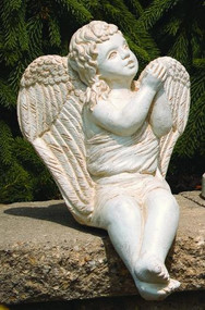 "Cement Sitting Angel Blowing Kiss. Dimensions: H: 14.5"", W: 9.5"", L: 10.5"", Wt: 14 lbs. Made to order...Allow 3-4 weeks for delivery. Made in the USA!"