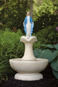 "This Blessed Mother clover leaf fountain can make a beautiful and unique addition to your garden. This fountain features a Blessed Mother statue at the top of the fountain and a clove leaf fountain style. Choose this fountain in a natural cement color or in a detailed stain. The detailed stain features a white fountain and colorful stained statue.  Details:  42.75"" H 24"" W 18"" base diameter Weight 215 lbs All statues are made to order, please allow 4-6 weeks for delivery Made in USA Shipping prices not included, please call us for shipping price."