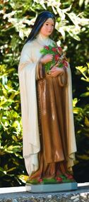 "Outdoor Cement Statue St. Theresa, Detailed Stain 108526 Height: 25"" Base: 6.75""sq Weight: 39 lbs Statues are made to order (if not in stock) ~ allow 4-6 weeks for delivery. Made in the USA!"
