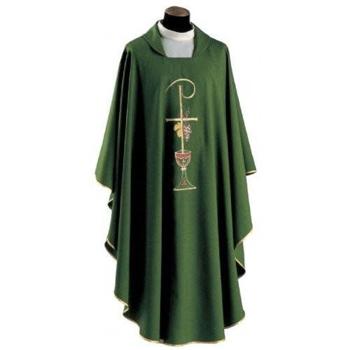 Primavera Fabric (100% Polyester). Chasuble has a Square Collar with Embroidery on the Front and Back and comes with Inside Stole. Available in White, Red, Green, Purple and Rose.  These items are imported from Europe. Please supply your Institution's Federal ID # as to avoid an import tax. Please allow 3-4 weeks for delivery if item is not in stock