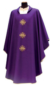 Primavera Fabric (100% Polyester). Chasuble has a Square Collar with Embroidery on the Front and Back and comes with Inside Stole. Available in White, Red, Green, Purple and Rose.  These items are imported from Europe. Please supply your Institution's Federal ID # as to avoid an import tax and allow 3-4 weeks for delivery if item is not in stock.
