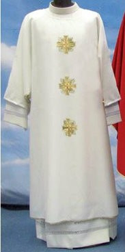 Primavera Fabric (100% Polyester) Dalmatic has a Plain neckline with same embroidery as Chasuble; Inside Stole included Available in White, Red, Green, Purple and Rose These items are imported from Europe. Please supply your Institution's Federal ID # as to avoid an import tax. Please allow 3-4 weeks for delivery if item is not in stock