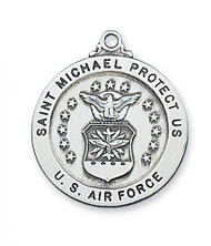 "1"" Diameter Air Force Sterling Silver Medal. Medal comes with a 24"" Rhodium plated chain. St. Michael depicted on back of medal. Made in the USA. Gift Boxed"