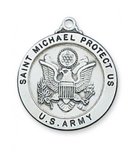 "Army Medal Sterling Silver 1"" Round Medal. Army/St Michael Medal comes with a 24"" Rhodium plated chain. St. Michael depicted on back of medal. Gift Boxed"