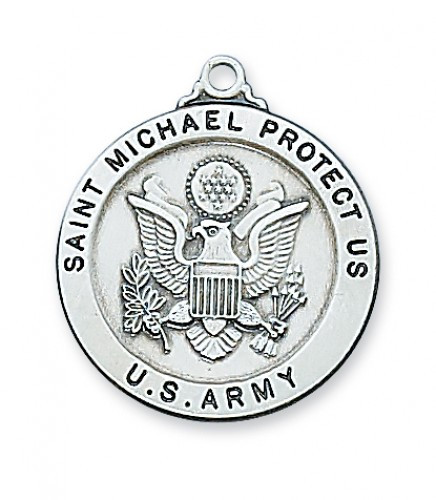 """Army Medal Sterling Silver 1"""" Round Medal. Army/St Michael Medal comes with a 24"""" Rhodium plated chain. St. Michael depicted on back of medal. Gift Boxed"""