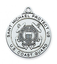 "1"" Diameter Coast Guard Sterling Silver St Michael Medal. Medal comes with a 24"" Rhodium plated chain. St. Michael depicted on back of medal. Made in the USA. Gift Boxed"
