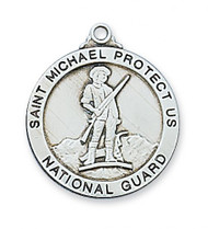 "National Guard Medal Antique Silver Plated Pewter or Sterling Silver. 1""Round  Medal with 24"" Rhodium plated chain. St. Michael depicted on back of medal.Gift Boxed"