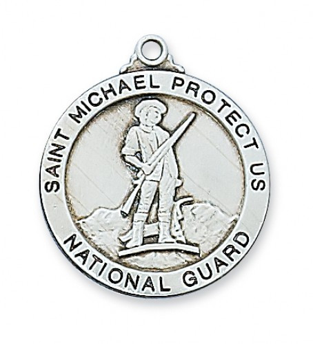 """National Guard/St Michael Sterling Silver Medal.  The 1""""round sterling silver National Guard  comes with a 24"""" rhodium plated chain. St. Michael isdepicted on back of medal. Gift Boxed. made in the USA"""