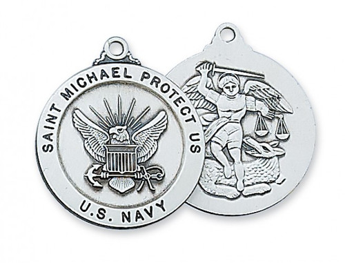 """Navy Medal Sterling Silver 1"""" Round Medal. Navy/St Michael Medal comes with a 24"""" Rhodium plated chain. St. Michael depicted on back of medal. Gift Boxed"""