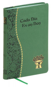"With Cada Dia es un Don ~ a Spanish edition of the popular daily devotional Every Day Is a Gift. Each of the daily meditations in Cada Dia es un Don features a text from Sacred Scripture, a quotation from the writings of a saint, and a meaningful prayer. An introduction by Rev. Frederick Schroeder tells of the power of prayer. Cada Dia es un Don is attractively illustrated and printed in two colors and includes a handy ribbon marker to assist in keeping one's place.  4"" X 6 1/4"" Green Imitation Leather"
