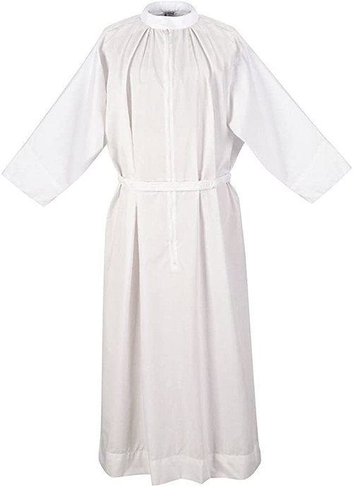 """Classic Alb, Clergy Fitted Alb, or Traditional Alb Style . 65% Polyester, 35% Cotton. Stand up collar with 30"""" zipper and adjustable velcro belt. Comes with or without liturgical orphrey (banding style 1878)"""
