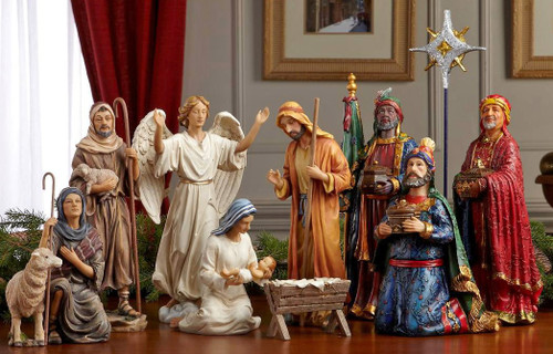 """11 Piece Nativity Set 10.25"""" High (tallest piece) Star measures 12.5"""". Beautiful figures with intricate detail and dramatic, life - like faces that capture the Christmas story.  Includes the Holy Family, the Three Kings, an Angel, a Shepherd holding a Sheep and another Sheep. Each set comes with chest filled with real 23K gold and pure, authentic, frankincense & myrrh from the same regions as the gifts brought 2000 years ago. Certificate of authenticity included .  Animals sold separately. 7 and 10"""" Set also available!"""