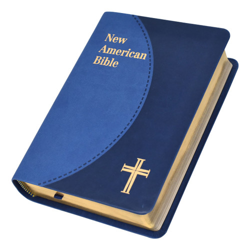 """The Personal-Size Gift Edition of the St. Joseph New American (Catholic) Bible includes the complete Old and New Testaments in compact, easy-to-read type. Many helpful aids for easy Bible reading include a valuable Bible Dictionary, self-explanatory maps, a doctrinal Bible Index, complete footnotes and cross-references, and 32 full-color illustrations. Also contains 4-page presentation pages and an 8-page Family Record. The Personal-Size Gift Edition of the St. Joseph New American (Catholic) Bible from Catholic Book Publishing will make a cherished gift. Convenient, compact size (4-1/2"""" x 6-1/2""""), blue duotone imitation leather cover, gift-boxed."""