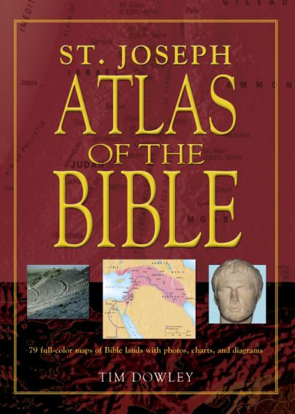 """St. Joseph Atlas of the Bible contains 79 full-color original maps of Bible lands. The carefully annotated maps in this Bible atlas show the routes of the great travelers such as Abraham, Moses, and Paul, along with major battles, migrations, and invasions, and feature explanatory captions detailing the significance of the places flagged. The text in the St. Joseph Atlas retells clearly the story of God's people from the call of Abraham to the spread of the early Christian Church. Richly illustrated throughout with full-color photographs, charts, and diagrams, St. Joseph Atlas of the Bible is an invaluable resource for devotional readers of Scripture as well as for students. 96 pages 6 1/2"""" x 9"""""""