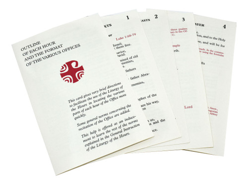 The Large Type Edition of the Inserts for the Liturgy of the Hours from includes the Common Texts, texts for Solemnities and Feasts, the Invitatory Psalms, Night Prayer, and an Outline of Each Hour and the Format of the Various Offices. All of the inserts for the Liturgy of the Hours are now laminated for long-lasting use.  Large type print or Standard type print
