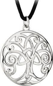 Celtic Tree of Life Pendant - This Tree of Life pendant combines several Celtic symbols in one pendant  With its roots planted in the earth and its branches reaching up to the heavens, it reminds us of our connection between earth and heaven and the link between everything in the universe  The branches are Celtic spirals, a symbol of infinity or eternity  The center of the pendant features the tree in the shape of a cross made up of the trinity knot which symbolizes the Holy Trinity of Father, Son and Holy Spirit  The Pendant is full of beautiful Celtic symbolism giving us several images of inspiring spirituality. Pendant has a rhodium finish, measures 1-1/4 inches acros,has an 18 inch black cord with a 2 inch extender. Pendant comes gift boxed with the legend of the Tree of Life included....