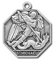 "St. Michael ~ the Patron Saint of Police, Firemen, Security,& Military. 1"" Sterling Silver Octagonal Medal. Gift Boxed with 24 inch Chain."