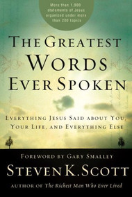 Every Word of Jesus right at Your fingertips. Haven't you wished you could ask Jesus any question and get his immediate help with the biggest problems you face? Now you can.  For the first time ever, all of the statements Jesus made in the New Testament have been brought together and organized under more than 200 topics. When you want to know his will in a specific area of life, or you're seeking the answer to a perplexing question, or you are desperate for his encouragement, comfort, or wisdom–you can easily find the help you need.  The moment you turn to the appropriate topic heading, you will have access to the breadth of Jesus' teaching on that subject. You can also use this book as a guide for studying Jesus' wisdom on any topic of interest, such as prayer, forgiveness, eternity, anger, temptation,