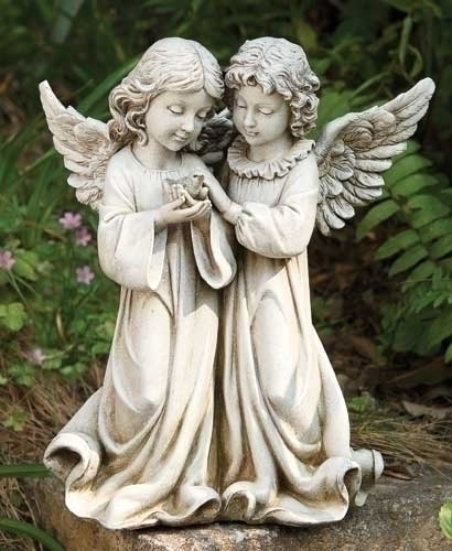 "From the Garden Collection ~ Two Angels Holding a Bird. Angels are made of a Resin Stone mix. Dimensions: 12.25""H 10.5""W 6.5""D"