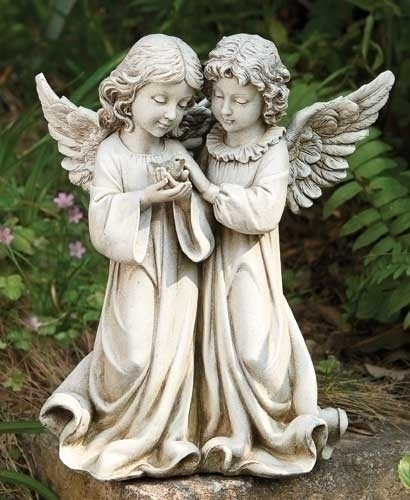 """From the Garden Collection ~ Two Angels Holding a Bird. Angels are made of a Resin Stone mix. Dimensions: 12.25""""H 10.5""""W 6.5""""D"""