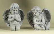 Garden statues of one cherub kneeling and one sitting. Can be ordered together or separately.