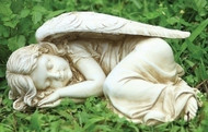 "From the Garden Collection ~ Sleeping Angel. Resin & Stone mix. Dimensions: 5.13""H 11.75""W 7.5""D"