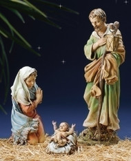 "Figures A/B/C: Holy Family Set (39530) 27"" Color Resin-Stone Outdoor Nativity Complete the nativity scene in your front yard with these large nativity figures! The nativity figures are sold separately or in specific sets.  The height, weight, and prices vary by individual pieces or sets.  The average height for these nativity figures is about 27 inches. The figures are made of resin-stone. Select the pieces or sets you want to start your nativity scene and collect them to finish your set! The figures available for purchase: A/B/C: Jesus, Mary, & Joseph Holy Family 3-Piece Set (or separate pieces) D/E/F: Three Kings 3-Piece Set (or separate pieces) G: Gloria Angel Piece H: Shepherd & Lamb 2-Piece Set I: Drummer Boy Piece J: Seated Ox Piece K: Seated Donkey Piece L: Seated Camel Piece M: Kneeling Angel N: Seated Sheep      O: Standing Sheep"