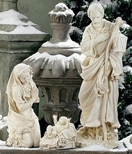 "Figures A,B,C: Holy Family 3-piece Set (39520) 39"" White Resin-Stone Outdoor Nativity Collection (Not all of collection is shown in photo) Individual Pieces & Small Sets Available for Purchase"