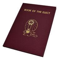 """The Book of the Elect is the companion book for the Rite of Christian Initiation of Adults, which calls for its use. Beautifully and sturdily bound in a red gold-stamped cloth cover, the Book of the Elect is magnificently illustrated with symbols relating to the Rite. There is ample space for the name of the Elect and their godparents (if desired), and each page is attractively arranged and printed. The elegant Book of the Elect is printed in two colors, includes a ribbon marker, and features gilded page edging. 128 pages ~ 9 1/2"""" x 13 1/4"""""""