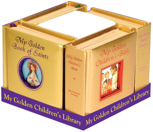 """A perfect and meaningful gift for any child. Four of our Golden Children's Books specially packaged in order to display all titles and the beauty of their golden padded covers and gilded edges. Each book has 42 pages.  CPSIA compliant. Measures 5-1/8 X 5-1/8"""" Padded Hardcover, 42 pages Golden Book of Mary, Prayers, the Bible, & the Saints"""