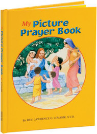 "My Picture Prayer Book is a remarkable, distinctive, and very colorful prayer book for children that provides short prayers for all occasions. Printed in large type, My Picture Prayer Book is magnificently illustrated with a full-color picture on every page. An ideal First Communion gift, My Picture Prayer Book will be cherished by every child for many years. Measures 5 1/2"" X 7 3/8"" Hardcover, 64 pages"