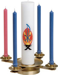 "This Advent Wreath comes in two finishes.  Brass with a satin finish or brass with a high polish finish.  It is 3""H, with a 15""W weighted base,  and 7/8"" tapered sockets. Center spikes adaptable to any candle size.  Candles not included"