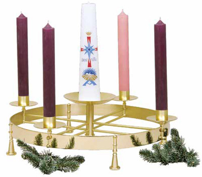 """Made of beautiful solid brass with two-tone finish. Inside ring diameter 21"""", outside diameter 25"""", 7 1/4"""" H in center. 1-½ """" socket size.  Center spikes are adaptable to any candle size.  Candles are not included."""