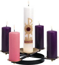 """Wrought Iron Advent Candle Wreath, K178 Height: 3"""" Diameter: 20"""" Base: 10"""" Wrought iron and brass Candles not included"""