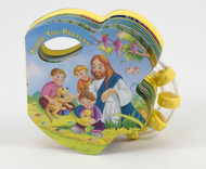 """This is part of a new series of books that combines a rattle with a small board book to appeal to God's littlest ones. The playful illustrations will delight little eyes as they see many of the things for which we thank Jesus come to life in bright and vivid colors. The soft sound of the rattle will keep the little ones enthralled and smiling. Hardcover ~ 14 pages ~ 5"""" x 4 3/4 """""""