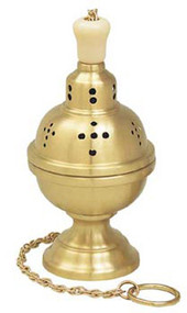 "Thurible with incense boat & spoon. 9"" height. 4-1/2"" bowl. Available in satin brass, high polish brass and 24k gold plate."