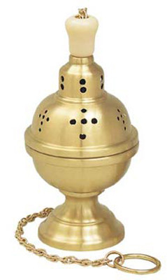 """Thurible with incense boat & spoon. 9"""" height. 4-1/2"""" bowl. Available in satin brass, high polish brass and 24K gold plated. The original one chain Censer."""