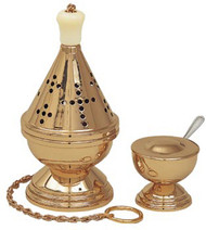 "Thurible with Incense Boat & Spoon. 9"" H, 4 1/2"" Bowl. Available in Satin Bronze, Polished Bronze or 24K Goldplate."