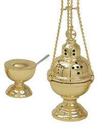 """Thurible (censer) with incense boat and spoon. 8 5/8""""H, 4 1/2"""" bowl.4-chain censer with boat.  36""""H overall. Available in Satin Brass, Polished Brass and 24K Gold Plate"""