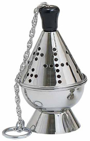 "Thurible (censer) with incense boat and spoon Stainless Steel 7-3/4"" Height, 4-1/2"" Bowl"