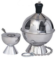 "Stainless Steel Thurible (censer) with incense boat and spoon. Measurements: 8""H, 5 1/2"" Bowl."