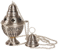 """Thurible (censer) with incense boat and spoon Censer: 9"""" height, 5"""" diameter bowl Boat: 5 1/2""""H, 4 1/4"""" Bowl 4-chain Censer w/Boat in Oxidized Silver with Gold Cross on Boat"""